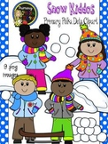 Snow Kids Clip Art {Primary Polka Dots Clip Art}