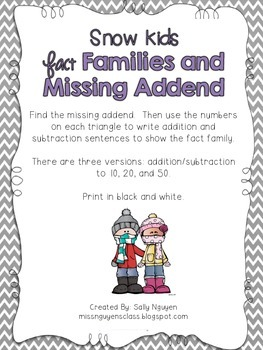 Snow Kids Missing Addend and Fact Families
