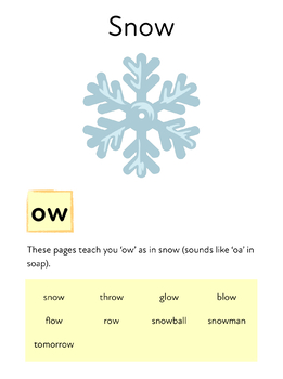 Snow: Learn The Phonic Sound ow (as in blow) Learn To Read With Phonics