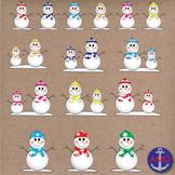 Snow Man Digital Clip Art- Winter, Snowflakes, Frosty Clip Art