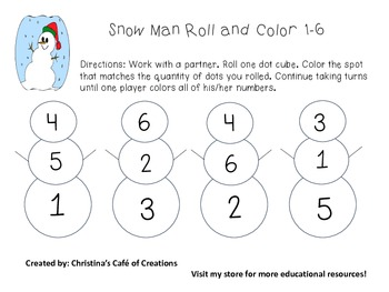 Snow Man Roll and Color 1-6