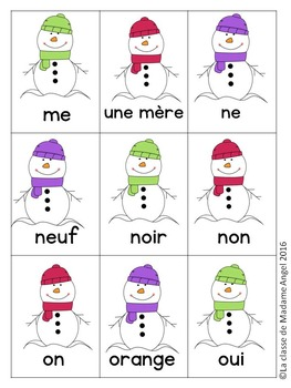 Hiver:  Sight Word Games in French with a Snowman Theme