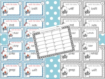 Irregular Plurals Task Card Set L.2.1b - L.3.1b Color & Print-Friendly Versions