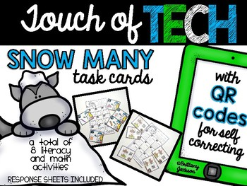 Snow Many Literacy and Math Activities with QR Code Task Cards