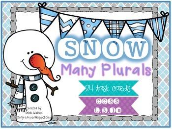Snow Many Plurals Task Card Set L.3.1a Color & Print-Friendly Versions