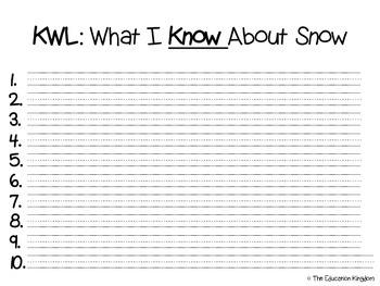 Snow Mini Unit: ELA Mini Reader, Science Experiments and MORE!