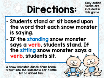 Snow Monster Stand and Sit Game – Verbs