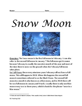 Snow Moon - full moon review article lesson information questions word search