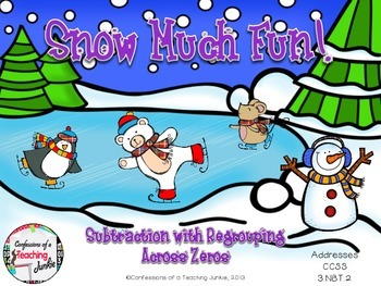 Snow Much Fun - 3 and 4-Digit Subtraction Across Zeros