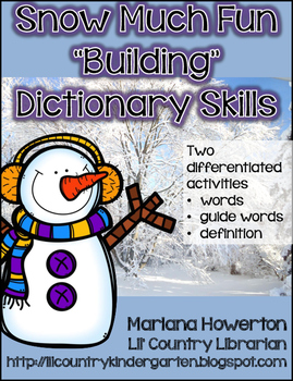 """Snow Much Fun """"Building"""" Dictionary Skills Snowman Building Activity"""