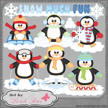 Snow Much Fun Penguins 1 - Art by Leah Rae Clip Art & Line Art / Digital Stamps