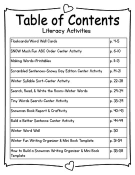 Winter Math & Literacy Activities