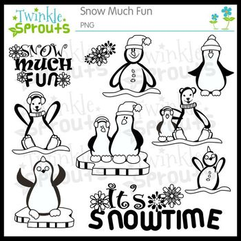 Snow Much Fun blackline clipart