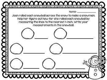 """""""Snow"""" Much Measurement Freebie! (Measuring to the nearest 1/4 inch)"""