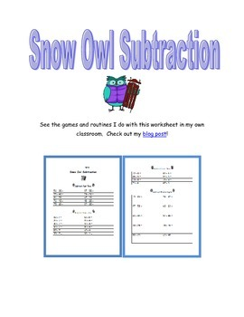 Snow Owl Subtraction: Winter Themed Double Digit Subtraction