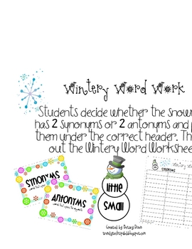 Snow Pack-Literacy/Math Centers