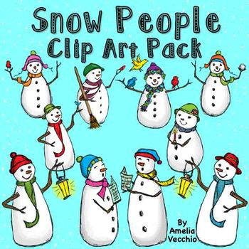 Snowman Clip Art Pack {Color} for Personal and Commercial Use