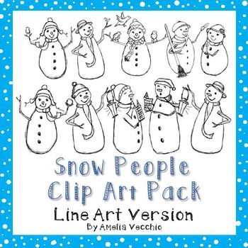 Snowman Clip Art Pack {LINE ART} for Personal and Commercial Use