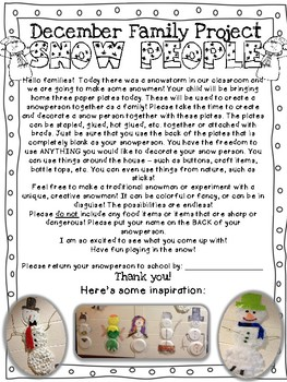 Snow People Family Project {Freebie!} {December}
