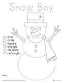 Snow People pre-writing with shapes