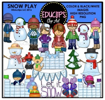 Snow Play Clip Art Bundle {Educlips Clipart}