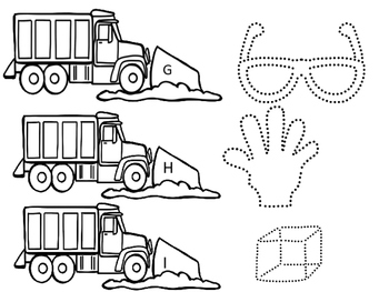 Snow Plow Alphabet Picture Tracing