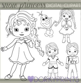 Snow Princess Black Line Clip Art