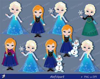 Snow Princess Digital Clipart, Only Elsa, Only Anna, Princ