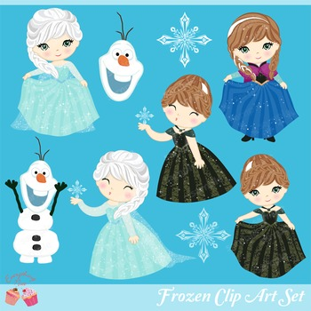 Snow Princess Frozen Princesses Clipart Set