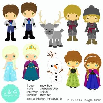 Snow Princess Series 2  Digital Clipart