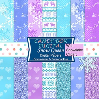 Snow Queen Winter and Nordic Digital Papers with Snowflake Clip Art