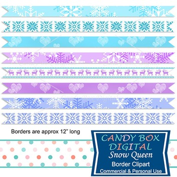 Snow Queen Digital Ribbon Borders - Frozen themes and colors