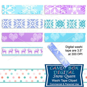 Snow Queen Digital Washi Tape - Frozen theme and colors