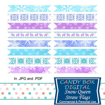 Snow Queen Party Straw Flags - for Frozen themed parties