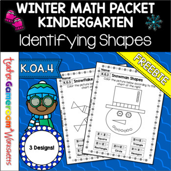 Freebie - Snow Shapes - Identifying Shapes K.G.3