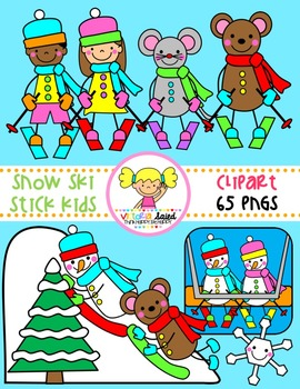 Snow Ski Stick Kids Clipart