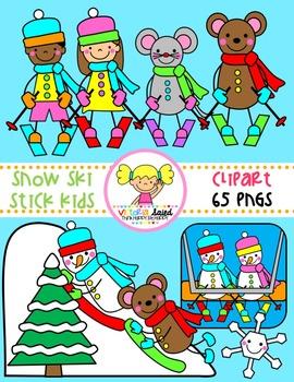 Snow kids. Ski stick clipart