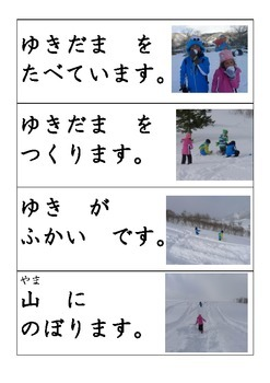 Japanese : Snow & Snow Monkey Magic Hiragana Short Sentence Cards