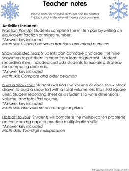 Snow Theme Math Center Activities for Upper Elementary (4 included)