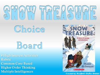 Snow Treasure Choice Board Novel Study Activities Menu Book Project Rubric