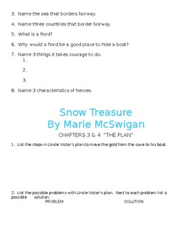 Snow Treasure Novel Study