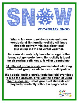 Snow Vocabulary Bingo