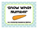 Snow What Number {A Missing Addends Game for winter}