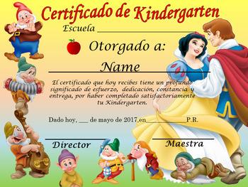 Snow White Achievement Award Spanish & English versin Editable!!!!