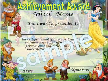 Snow White Achievement award English / Spanish version
