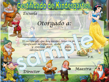 Snow White Achievement award English / Spanish version