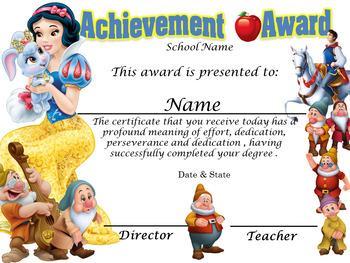 Snow White ( Blanca Nieves) Achievement Award Complete Editable!! Engl & Spanish
