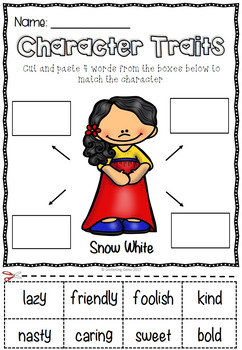 Snow White Character Trait Activities & Word Wall Cards | Fairy Tales Activities