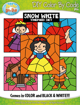 Snow White Color By Code Clipart {Zip-A-Dee-Doo-Dah Designs}