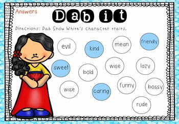 Snow White Character Traits (freebie) | Fairy Tales Activities